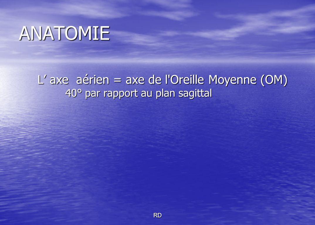 RD ANATOMIE L' axe aérien = axe de l'Oreille Moyenne (OM) L' axe aérien = axe de l'Oreille Moyenne (OM) 40° par rapport au plan sagittal 40° par rappo