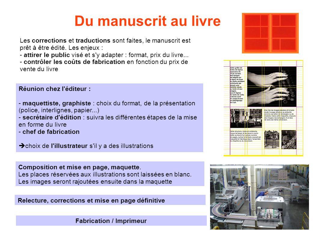 Du manuscrit au livre Réunion chez l'éditeur : - maquettiste, graphiste : choix du format, de la présentation (police, interlignes, papier...) - secré