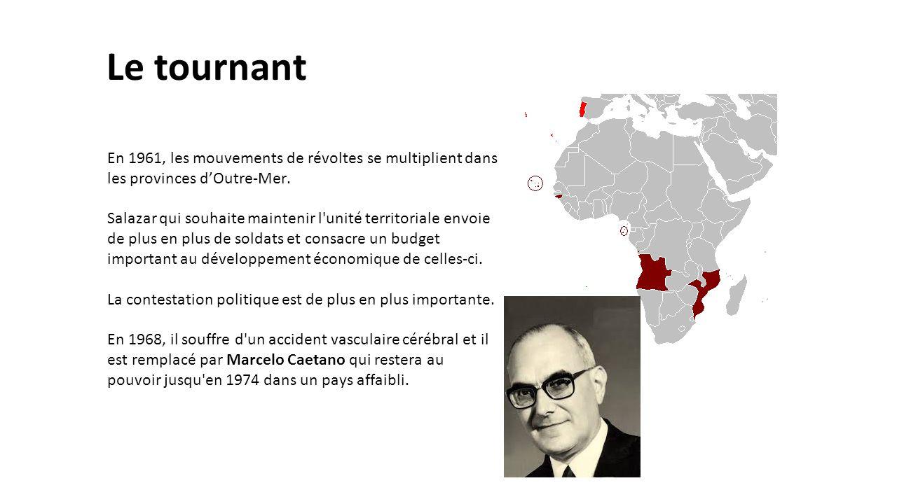 Le tournant En 1961, les mouvements de révoltes se multiplient dans les provinces d'Outre-Mer. Salazar qui souhaite maintenir l'unité territoriale env