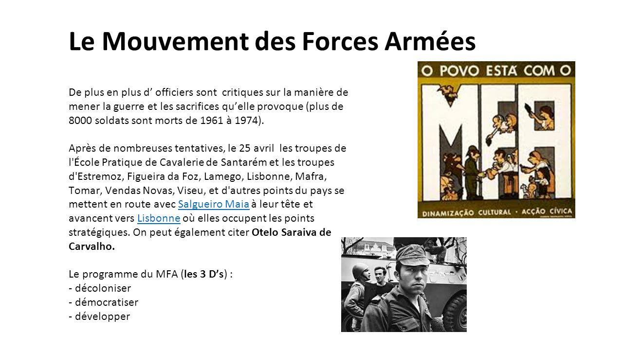 Le Mouvement des Forces Armées De plus en plus d' officiers sont critiques sur la manière de mener la guerre et les sacrifices qu'elle provoque (plus