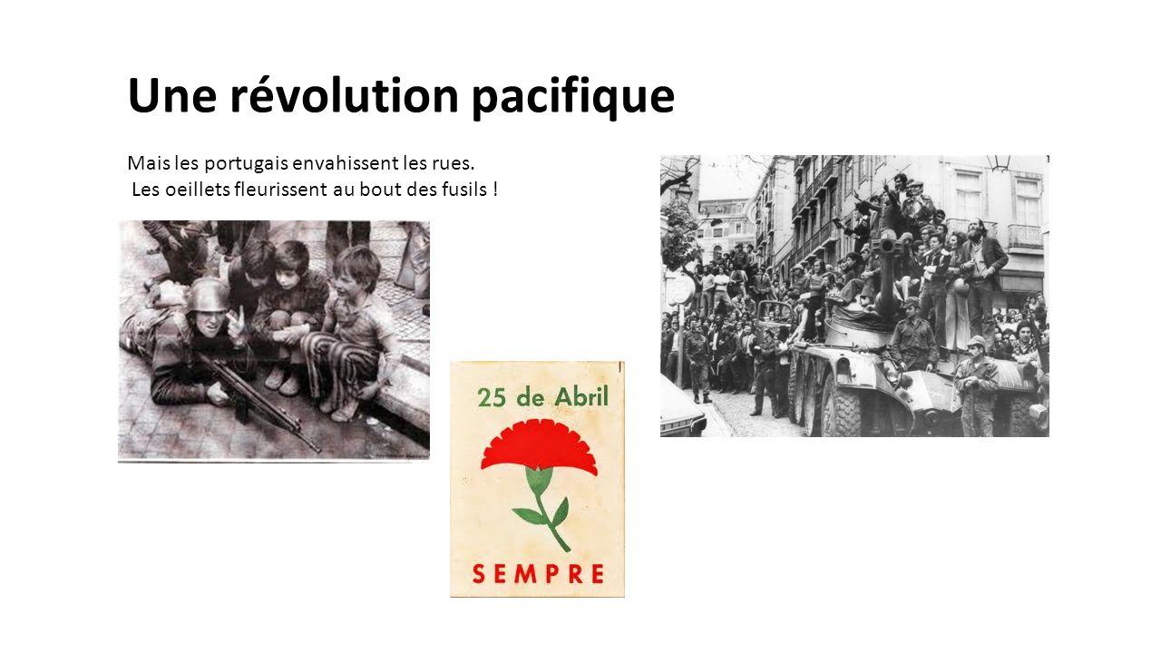 Une révolution pacifique Mais les portugais envahissent les rues. Les oeillets fleurissent au bout des fusils !