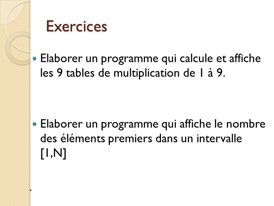 Exercices Elaborer un programme qui calcule et affiche les 9 tables de multiplication de 1 à 9. Elaborer un programme qui affiche le nombre des élémen