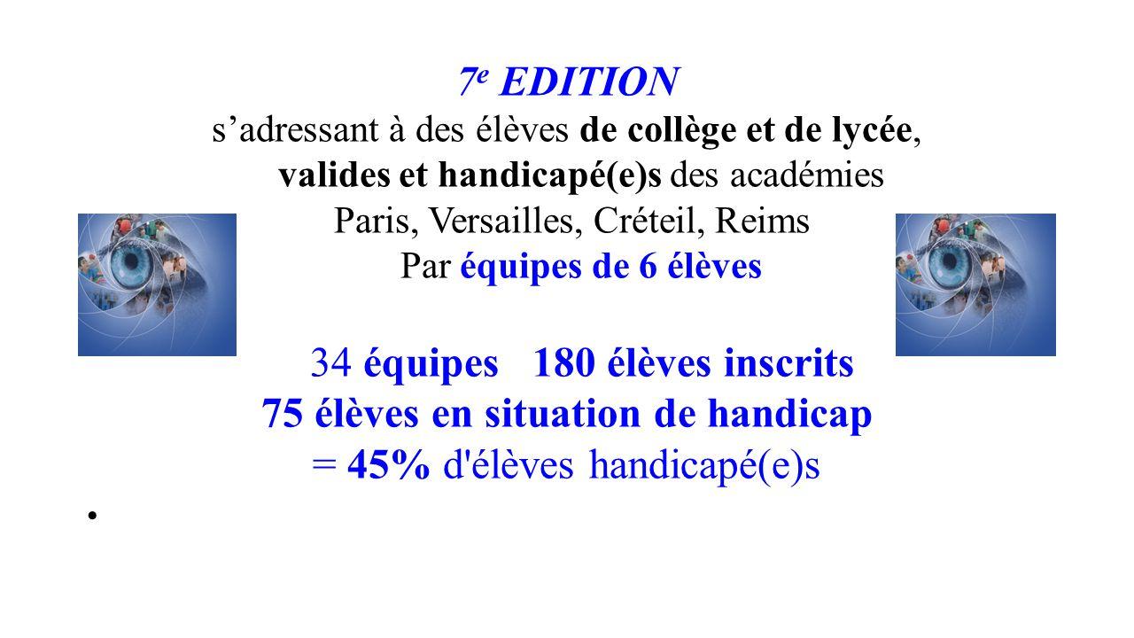 7 e EDITION s'adressant à des élèves de collège et de lycée, valides et handicapé(e)s des académies Paris, Versailles, Créteil, Reims Par équipes de 6
