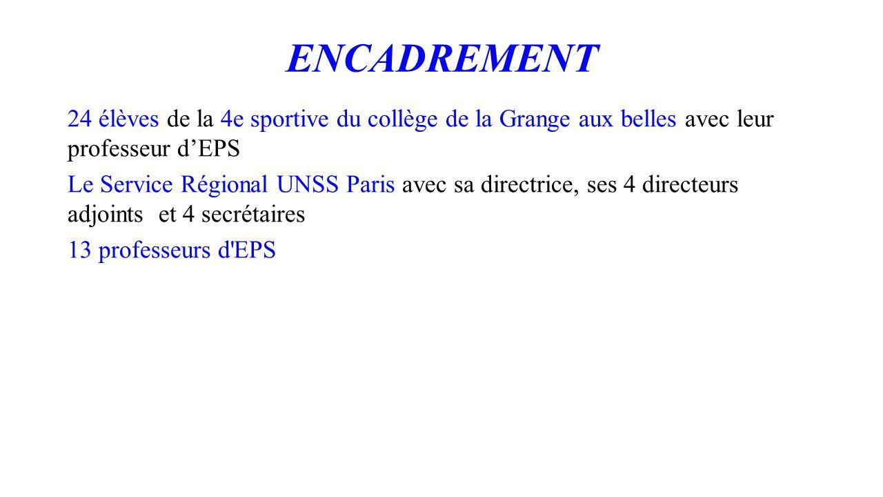 ENCADREMENT 24 élèves de la 4e sportive du collège de la Grange aux belles avec leur professeur d'EPS Le Service Régional UNSS Paris avec sa directric