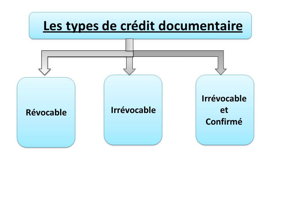 Les types de crédit documentaire Révocable Irrévocable Irrévocable et Confirmé