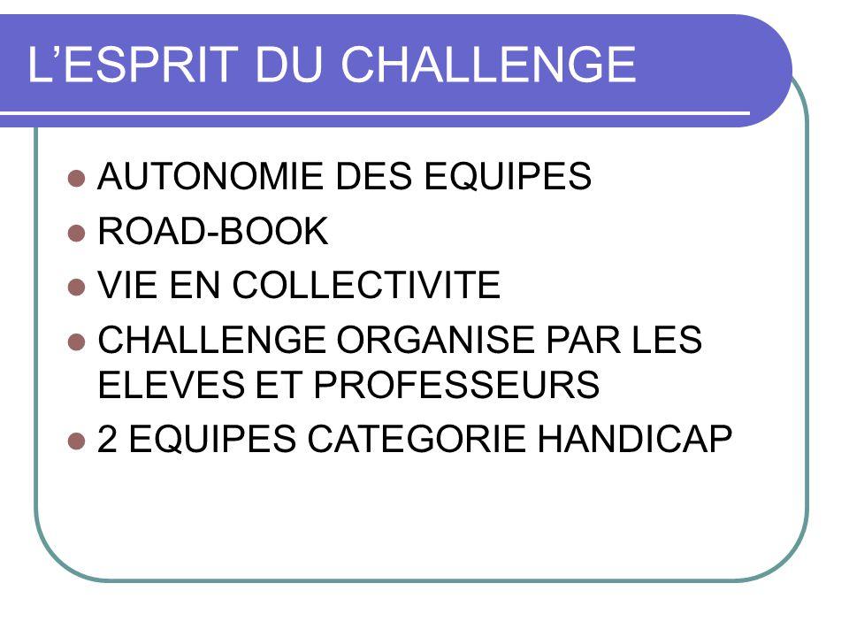 L'ESPRIT DU CHALLENGE AUTONOMIE DES EQUIPES ROAD-BOOK VIE EN COLLECTIVITE CHALLENGE ORGANISE PAR LES ELEVES ET PROFESSEURS 2 EQUIPES CATEGORIE HANDICAP