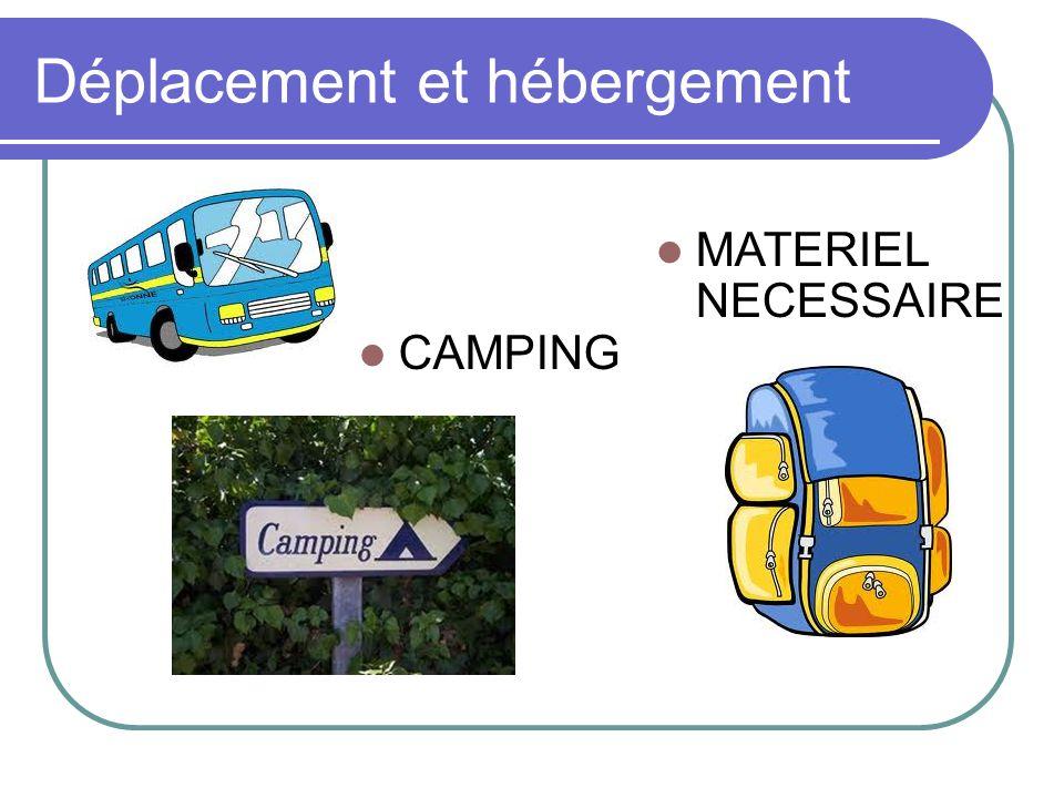 Déplacement et hébergement CAMPING MATERIEL NECESSAIRE