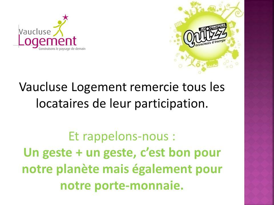 Vaucluse Logement remercie tous les locataires de leur participation. Et rappelons-nous : Un geste + un geste, c'est bon pour notre planète mais égale