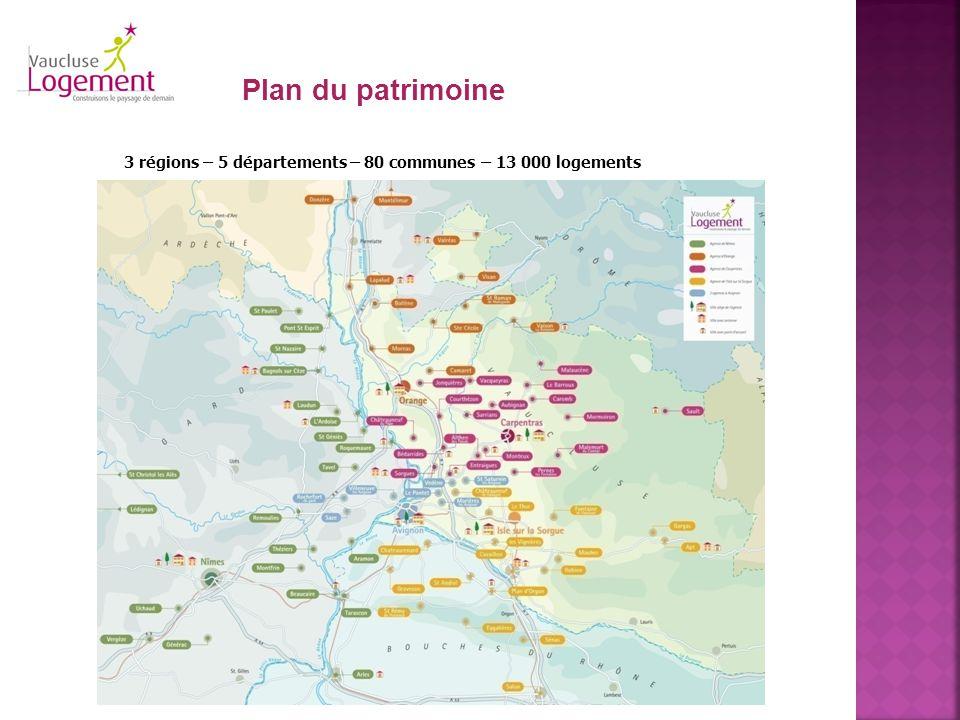 3 régions – 5 départements – 80 communes – 13 000 logements Plan du patrimoine