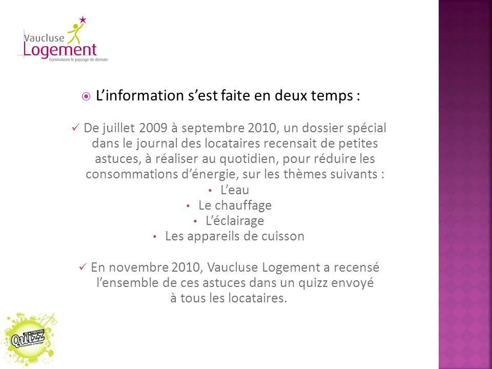  L'information s'est faite en deux temps : De juillet 2009 à septembre 2010, un dossier spécial dans le journal des locataires recensait de petites a