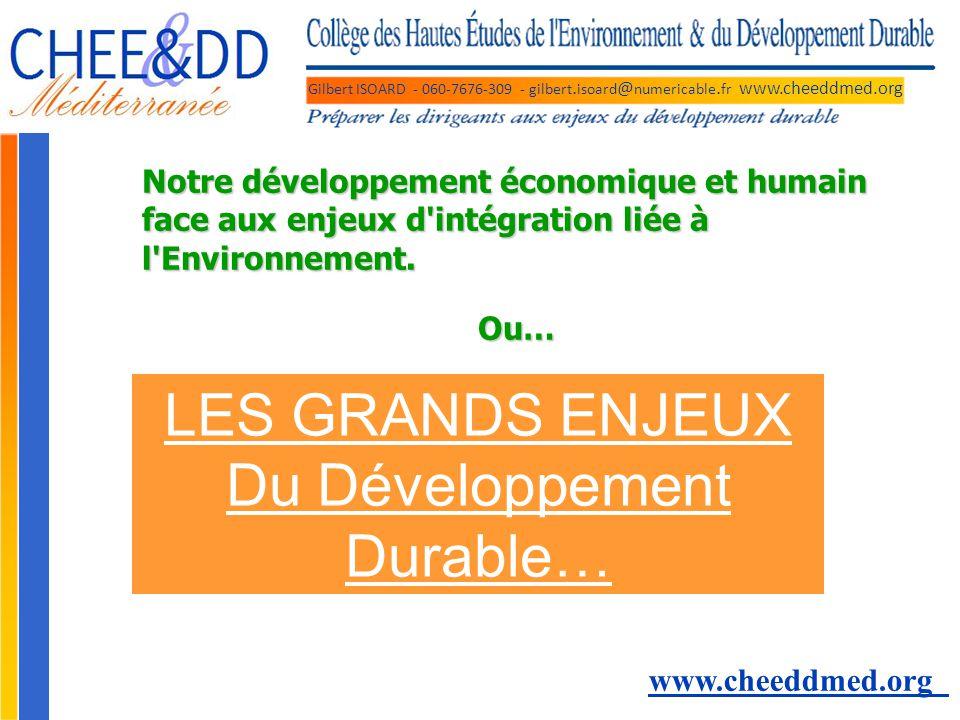 Gilbert ISOARD - 060-7676-309 - gilbert. isoard @ numericable. fr www.cheeddmed.org LES GRANDS ENJEUX Du Développement Durable… www.cheeddmed.org Notr