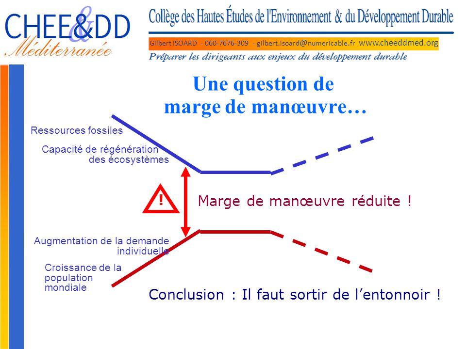 Gilbert ISOARD - 060-7676-309 - gilbert. isoard @ numericable. fr www.cheeddmed.org Une question de marge de manœuvre… Ressources fossiles Capacité de