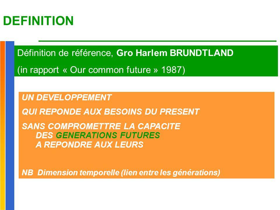 DEFINITION Définition de référence, Gro Harlem BRUNDTLAND (in rapport « Our common future » 1987) UN DEVELOPPEMENT QUI REPONDE AUX BESOINS DU PRESENT SANS COMPROMETTRE LA CAPACITE DES GENERATIONS FUTURES A REPONDRE AUX LEURS NB Dimension temporelle (lien entre les générations)