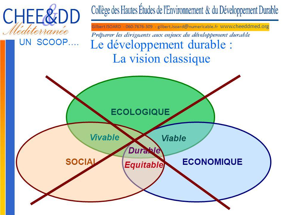 Gilbert ISOARD - 060-7676-309 - gilbert. isoard @ numericable. fr www.cheeddmed.org Le développement durable : La vision classique ECOLOGIQUE ECONOMIQ