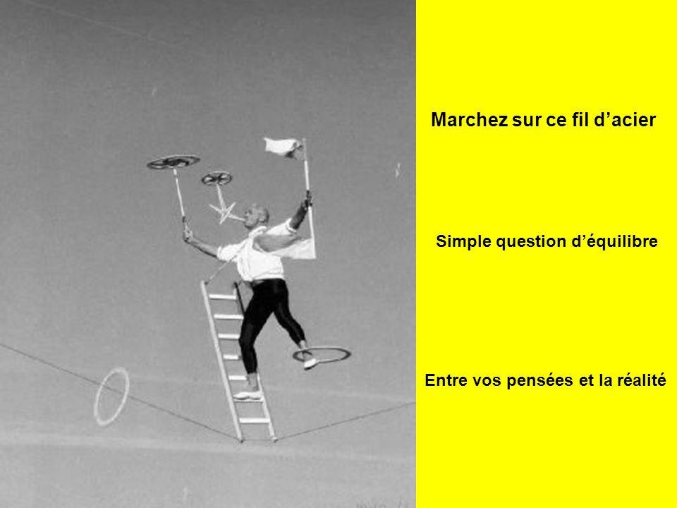 Entre vos pensées et la réalité Marchez sur ce fil d'acier Simple question d'équilibre