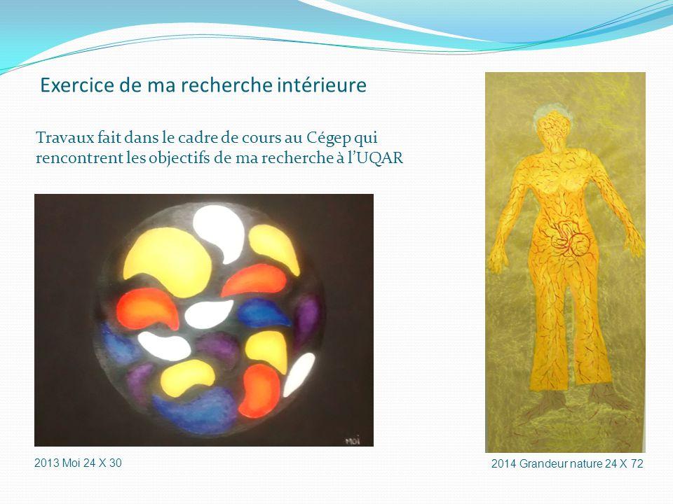 Exercice de ma recherche intérieure Travaux fait dans le cadre de cours au Cégep qui rencontrent les objectifs de ma recherche à l'UQAR 2013 Moi 24 X 30 2014 Grandeur nature 24 X 72