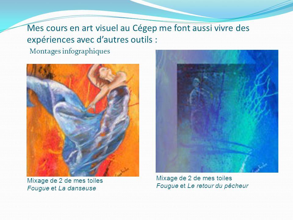 Mes cours en art visuel au Cégep me font aussi vivre des expériences avec d'autres outils : Mixage de 2 de mes toiles Fougue et La danseuse Mixage de 2 de mes toiles Fougue et Le retour du pêcheur Montages infographiques