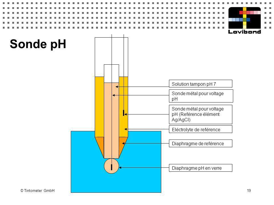 © Tintometer GmbH 19 Solution tampon pH 7 Sonde métal pour voltage pH Sonde métal pour voltage pH (Reférence élément Ag/AgCl) Eléctrolyte de reférence