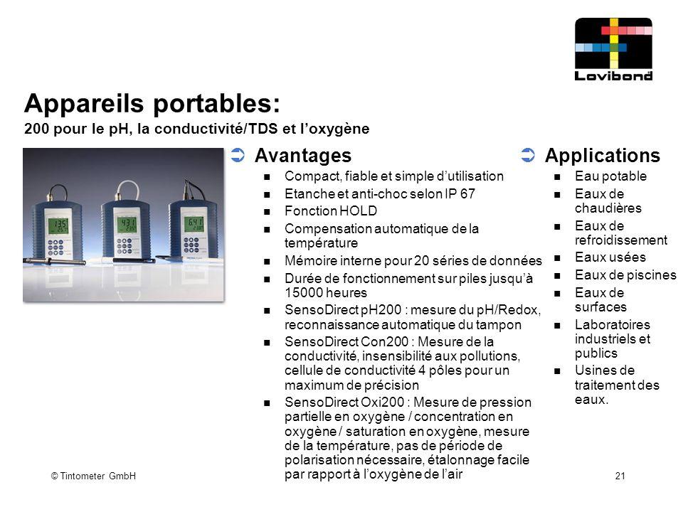 © Tintometer GmbH 21 Appareils portables: 200 pour le pH, la conductivité/TDS et l'oxygène  Avantages Compact, fiable et simple d'utilisation Etanche