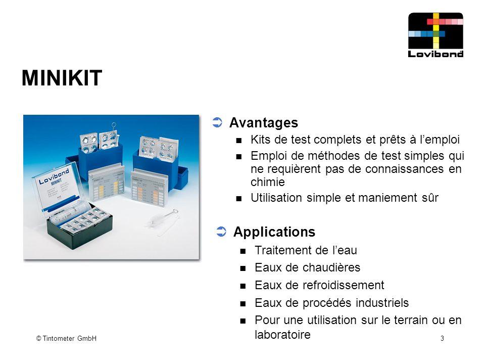 3 MINIKIT  Avantages Kits de test complets et prêts à l'emploi Emploi de méthodes de test simples qui ne requièrent pas de connaissances en chimie Ut