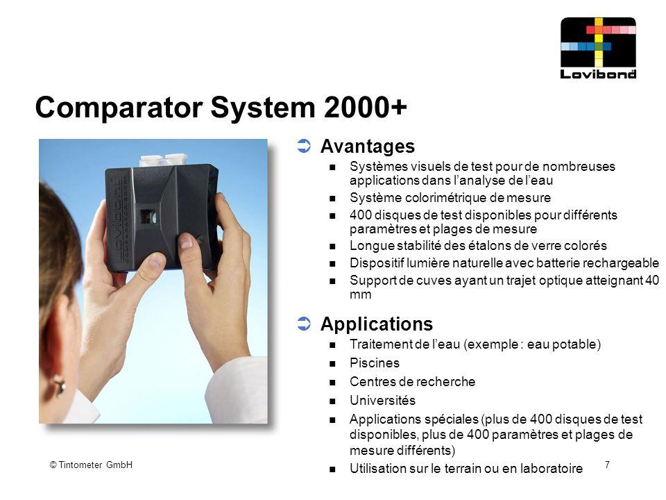 © Tintometer GmbH 7 Comparator System 2000+  Avantages Systèmes visuels de test pour de nombreuses applications dans l'analyse de l'eau Système color