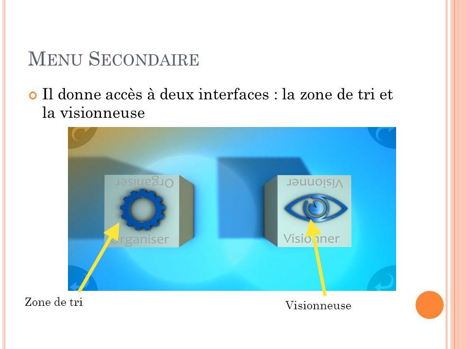 M ENU S ECONDAIRE Il donne accès à deux interfaces : la zone de tri et la visionneuse Zone de tri Visionneuse