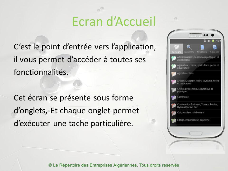 Ecran d'Accueil C'est le point d'entrée vers l'application, il vous permet d'accéder à toutes ses fonctionnalités.
