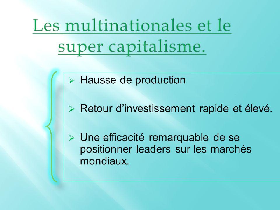  Hausse de production  Retour d'investissement rapide et élevé.