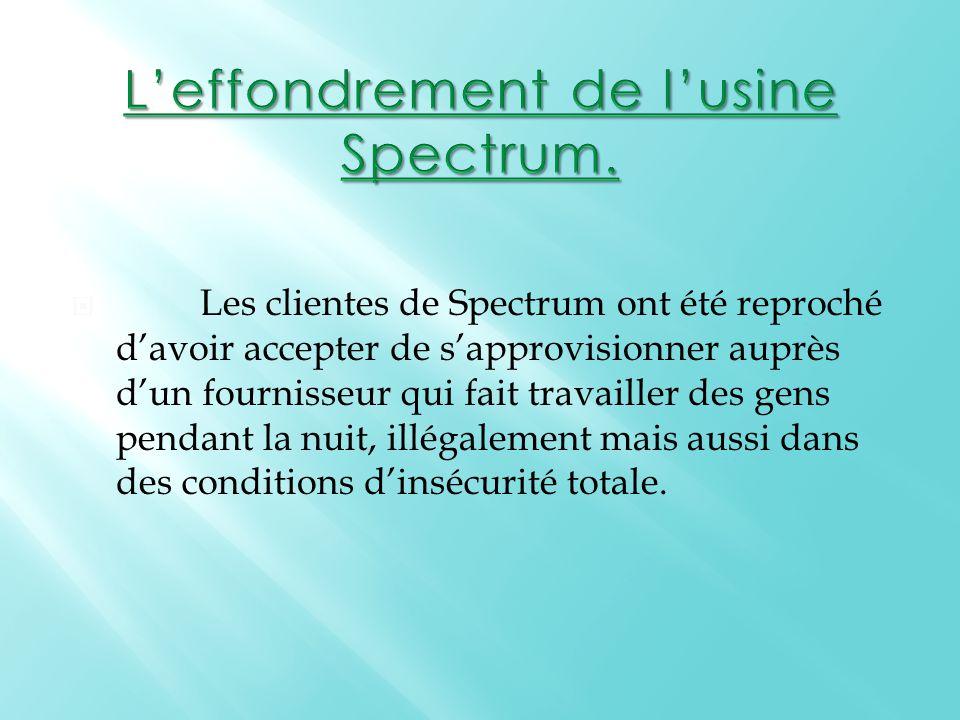  Les clientes de Spectrum ont été reproché d'avoir accepter de s'approvisionner auprès d'un fournisseur qui fait travailler des gens pendant la nuit, illégalement mais aussi dans des conditions d'insécurité totale.
