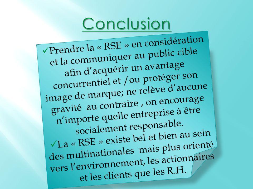 Prendre la « RSE » en considération et la communiquer au public cible afin d'acquérir un avantage concurrentiel et /ou protéger son image de marque; ne relève d'aucune gravité au contraire, on encourage n'importe quelle entreprise à être socialement responsable.