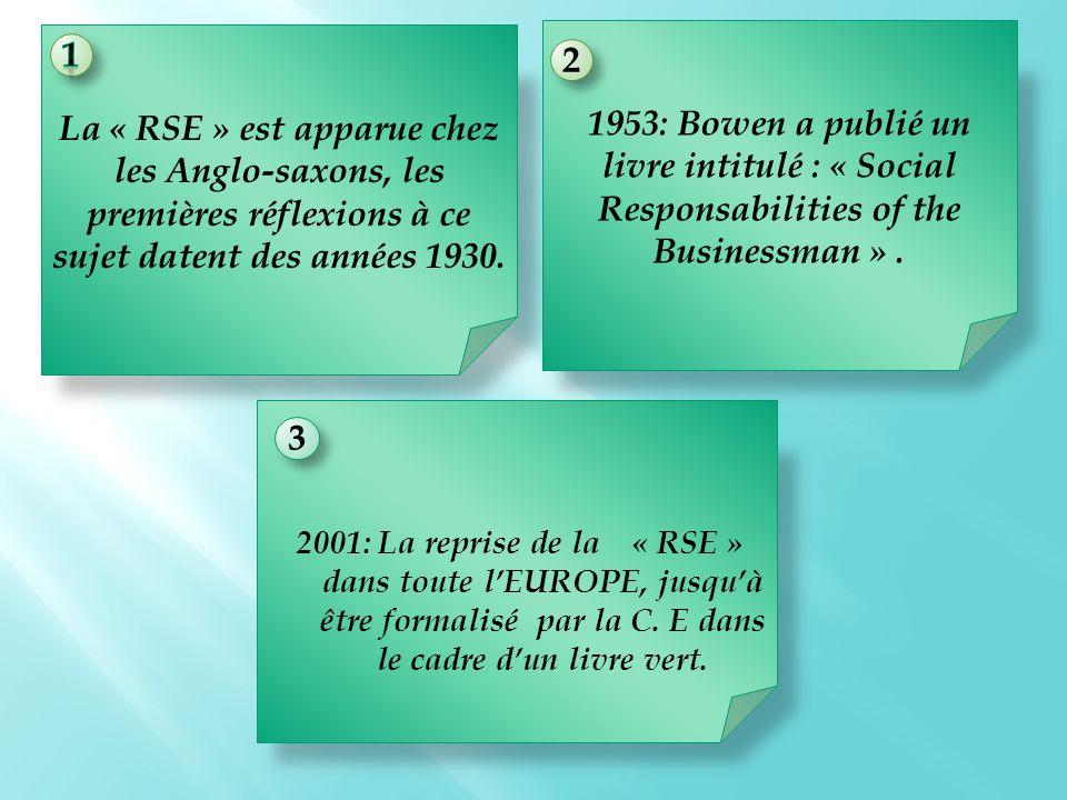 La « RSE » est apparue chez les Anglo-saxons, les premières réflexions à ce sujet datent des années 1930.