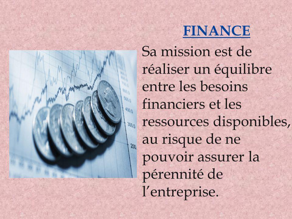 FINANCE Sa mission est de réaliser un équilibre entre les besoins financiers et les ressources disponibles, au risque de ne pouvoir assurer la pérenni
