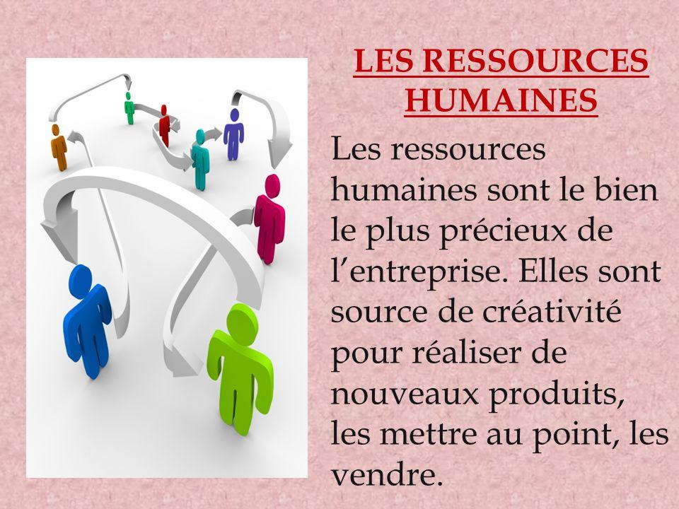 LES RESSOURCES HUMAINES Les ressources humaines sont le bien le plus précieux de l'entreprise. Elles sont source de créativité pour réaliser de nouvea