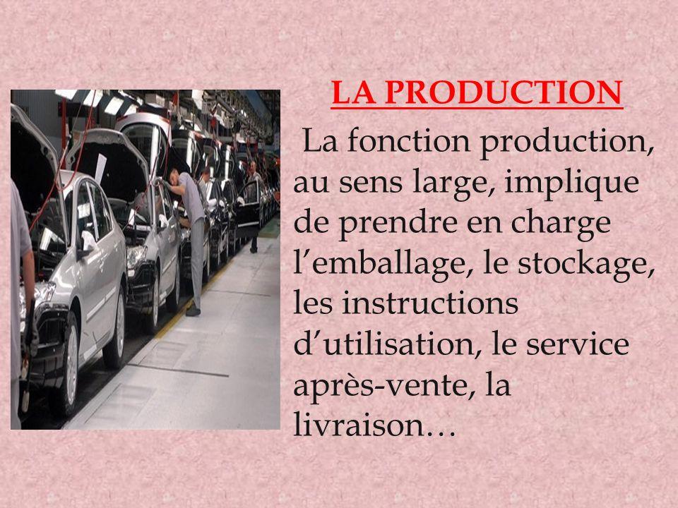 LA PRODUCTION La fonction production, au sens large, implique de prendre en charge l'emballage, le stockage, les instructions d'utilisation, le servic