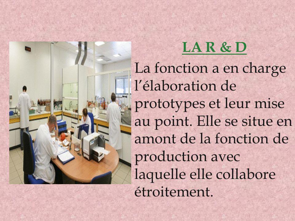 LA R & D La fonction a en charge l'élaboration de prototypes et leur mise au point. Elle se situe en amont de la fonction de production avec laquelle