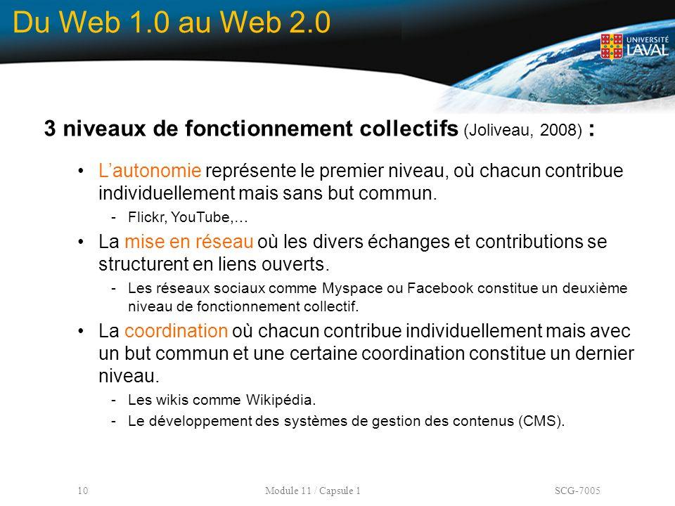 10 Module 11 / Capsule 1 SCG-7005 Du Web 1.0 au Web 2.0 3 niveaux de fonctionnement collectifs (Joliveau, 2008) : L'autonomie représente le premier ni