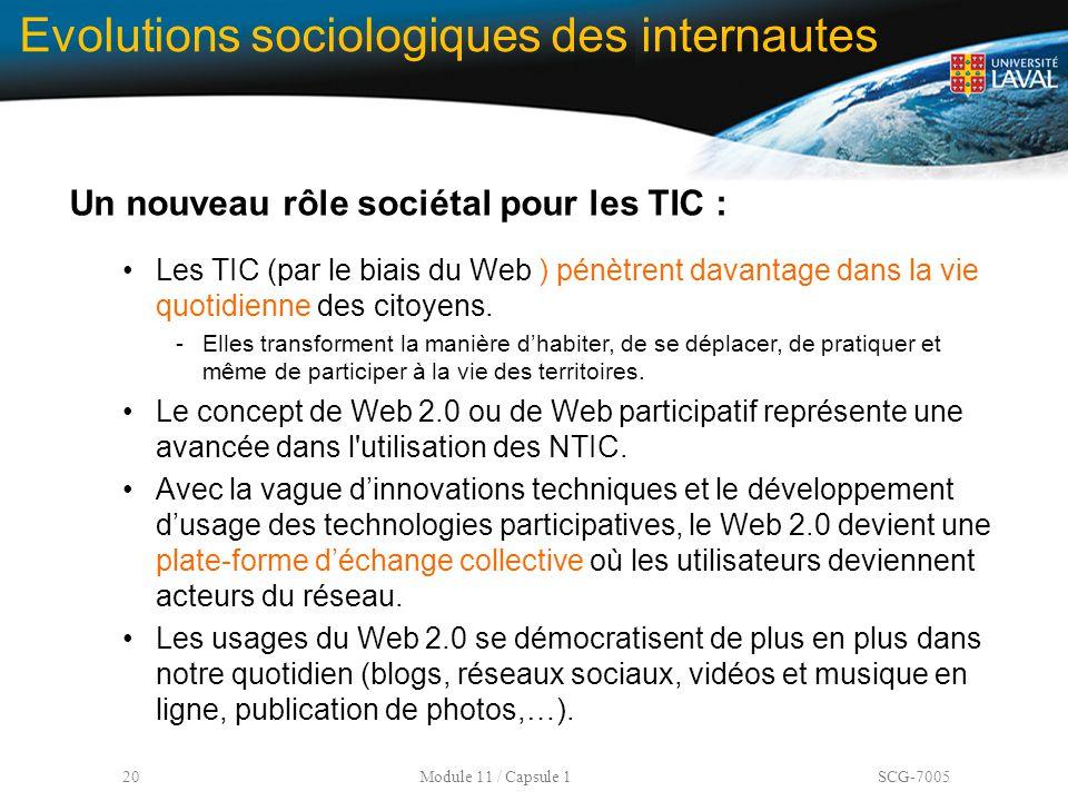 20 Module 11 / Capsule 1 SCG-7005 Evolutions sociologiques des internautes Un nouveau rôle sociétal pour les TIC : Les TIC (par le biais du Web ) pénè