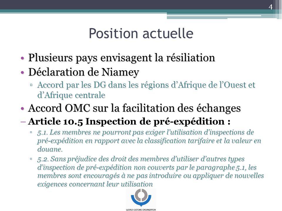 Position actuelle Plusieurs pays envisagent la résiliationPlusieurs pays envisagent la résiliation Déclaration de NiameyDéclaration de Niamey ▫Accord