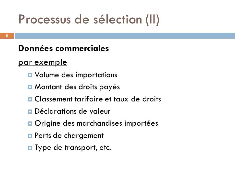Processus de sélection (III) 6 Antécédents de l entité contrôlée par exemple  Données consignées lors de contrôles antérieurs  Erreurs lors des déclarations d entrée  Infractions enregistrées  Le cas échéant, renseignements concernant le paiement des taxes ou de la TVA
