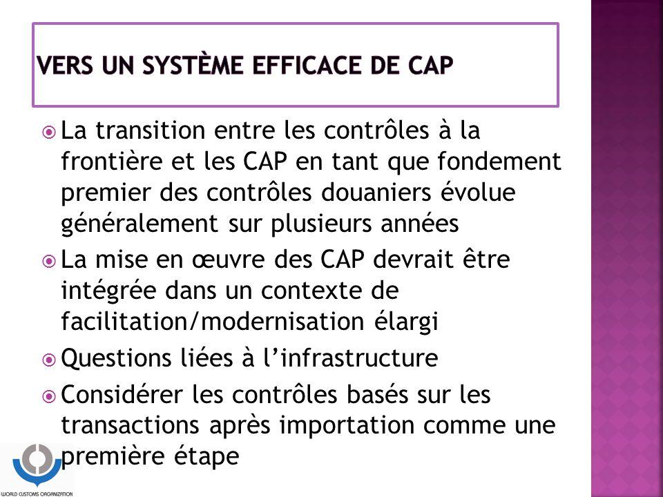  La transition entre les contrôles à la frontière et les CAP en tant que fondement premier des contrôles douaniers évolue généralement sur plusieurs années  La mise en œuvre des CAP devrait être intégrée dans un contexte de facilitation/modernisation élargi  Questions liées à l'infrastructure  Considérer les contrôles basés sur les transactions après importation comme une première étape