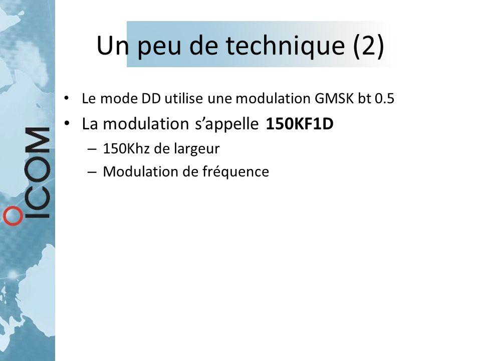 Un peu de technique (2) Le mode DD utilise une modulation GMSK bt 0.5 La modulation s'appelle 150KF1D – 150Khz de largeur – Modulation de fréquence