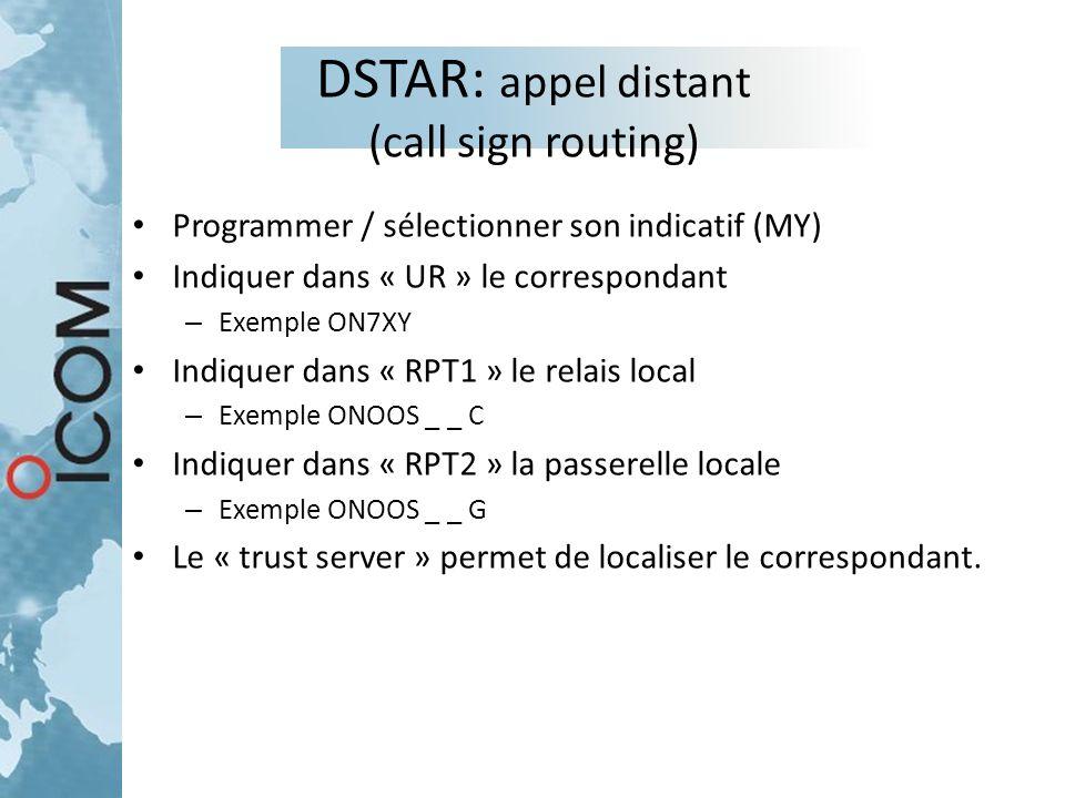DSTAR: appel distant (call sign routing) Programmer / sélectionner son indicatif (MY) Indiquer dans « UR » le correspondant – Exemple ON7XY Indiquer d