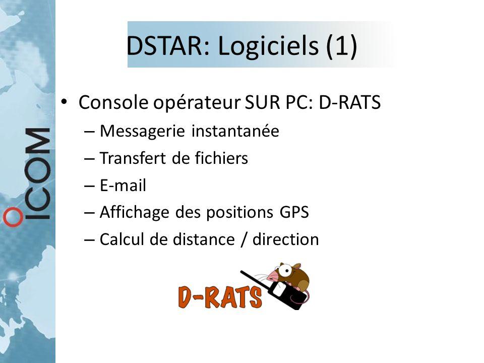 DSTAR: Logiciels (1) Console opérateur SUR PC: D-RATS – Messagerie instantanée – Transfert de fichiers – E-mail – Affichage des positions GPS – Calcul