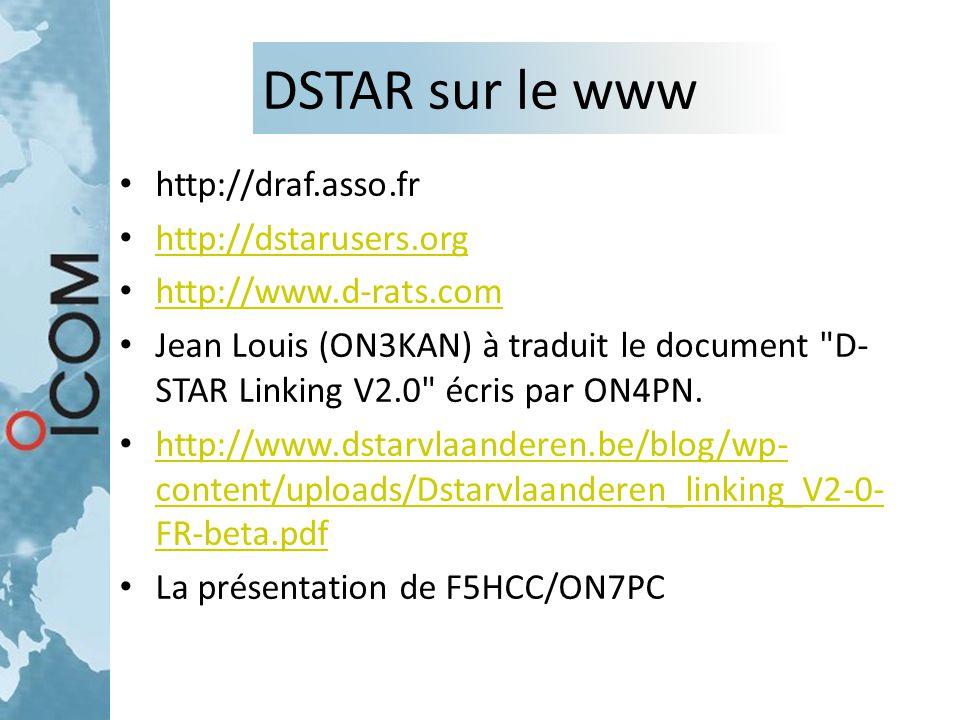 DSTAR sur le www http://draf.asso.fr http://dstarusers.org http://www.d-rats.com Jean Louis (ON3KAN) à traduit le document