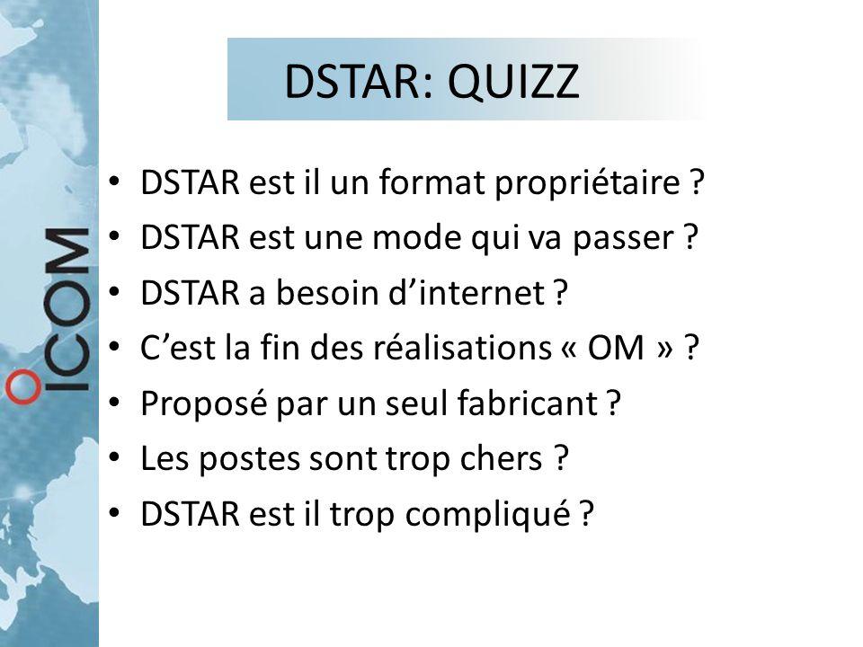 DSTAR: QUIZZ DSTAR est il un format propriétaire ? DSTAR est une mode qui va passer ? DSTAR a besoin d'internet ? C'est la fin des réalisations « OM »