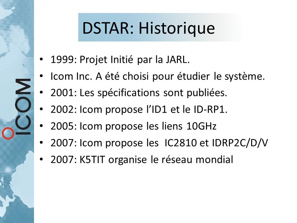 DSTAR: Historique 1999: Projet Initié par la JARL. Icom Inc. A été choisi pour étudier le système. 2001: Les spécifications sont publiées. 2002: Icom