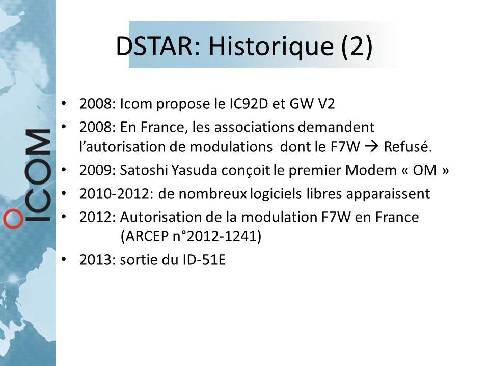 DSTAR: Historique (2) 2008: Icom propose le IC92D et GW V2 2008: En France, les associations demandent l'autorisation de modulations dont le F7W  Ref
