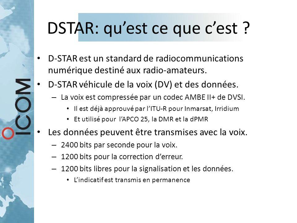 DSTAR: qu'est ce que c'est ? D-STAR est un standard de radiocommunications numérique destiné aux radio-amateurs. D-STAR véhicule de la voix (DV) et de