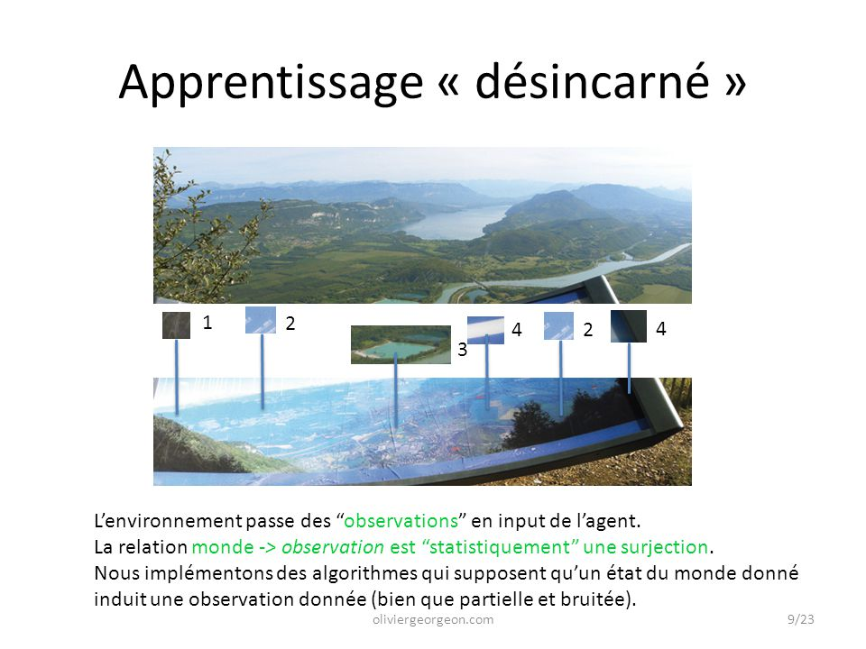 Apprentissage par enregistrement (Georgeon, 2014) Apprentissage par l'expérience Positionnement dans le cadre de l'IA Newell & Simon (1972) goals drive problem solving; (1976) Physical Symbol Systems.