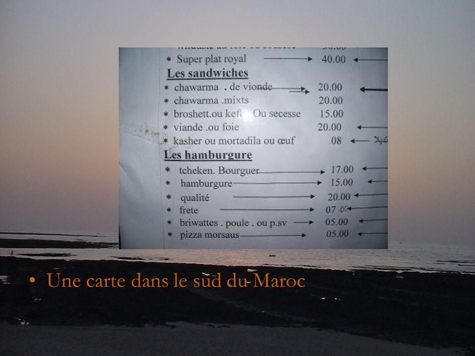 Une carte dans le sud du Maroc